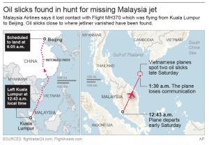 Map shows where missing plane departed, scheduled to …