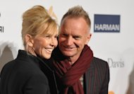 Recording artist Sting, right, and Trudie Styler arrive at the Clive Davis Pre-GRAMMY Gala on Saturday, Feb. 9, 2013 in Beverly Hills, Calif. (Photo by John Shearer/Invision/AP)