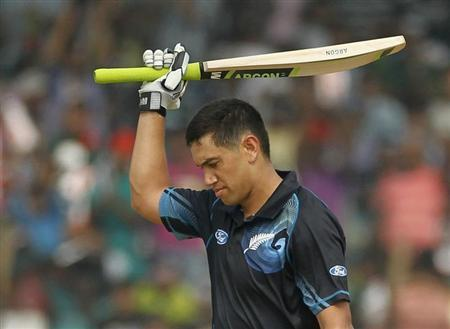 New Zealand's Ross Taylor celebrates after he scored a century against Bangladesh during their third One-day International (ODI) cricket match in Narayanganj.