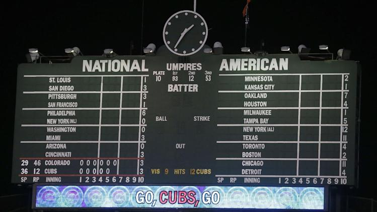 The Wrigley Field scoreboard reflects the completion of the other Major League Baseball games and the time in which a Tuesday baseball game between the Chicago Cubs and the Colorado Rockies finished on Wednesday, July 30, 2014, in Chicago. At six hours and 27 minutes, a record for the longest game by time for both teams.. (AP Photo/Charles Rex Arbogast)