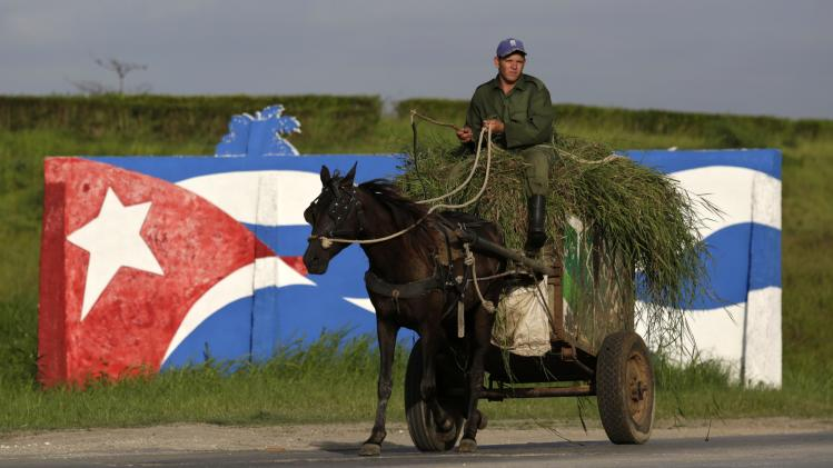 A farmer rides his horse-pulled cart in front of graffiti depicting Cuba's national flag, in Mariel on the outskirts of Havana