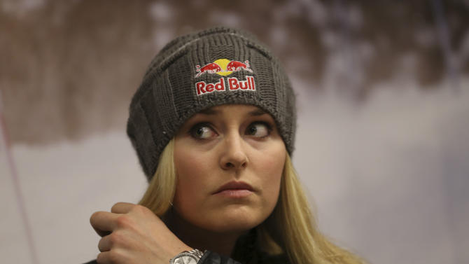 U.S. ski racer Lindsey Vonn gestures during a press conference in view of the World Cup Alpine Skiing, in Schladming, Austria, Sunday, Feb. 3, 2013. With media attention on her personal life intensifying and some 400,000 fans expected, Lindsey Vonn will be surrounded by bodyguards at the Alpine skiing world championships starting Tuesday. (AP Photo/Luca Bruno)