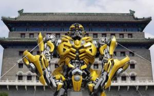 A model of the Transformers character Bumblebee is displayed in front of Qianmen Gate in central Beijing