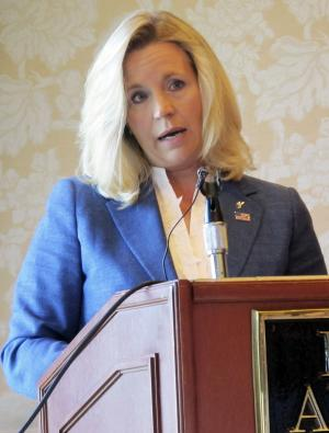 Liz Cheney addresses reporters on Wednesday July 17, 2013, at the Little America Hotel in Cheyenne, Wyo. Cheney, daughter of former Vice President Dick Cheney, announced this week she intends to challenge incumbent Sen. Mike Enzi, R-Wyo. (AP Photo/Ben Neary)