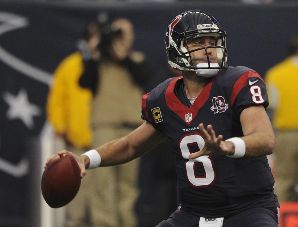 Houston Texans quarterback Matt Schaub passes the ball against the Cincinnati Bengals during the first quarter of an NFL wild card playoff football game Saturday, Jan. 5, 2013, in Houston. (AP Photo/Dave Einsel)