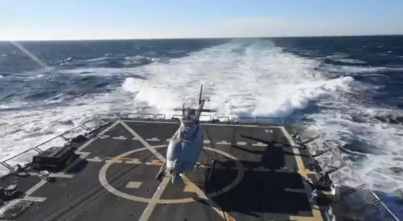 Navy's Drone Helicopter Takes Off From A Destroyer Ship