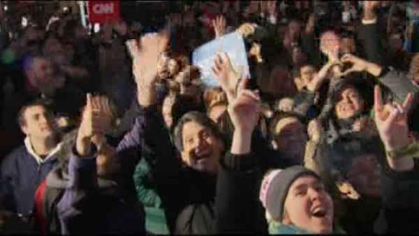 Times Square revelers react to Obama win
