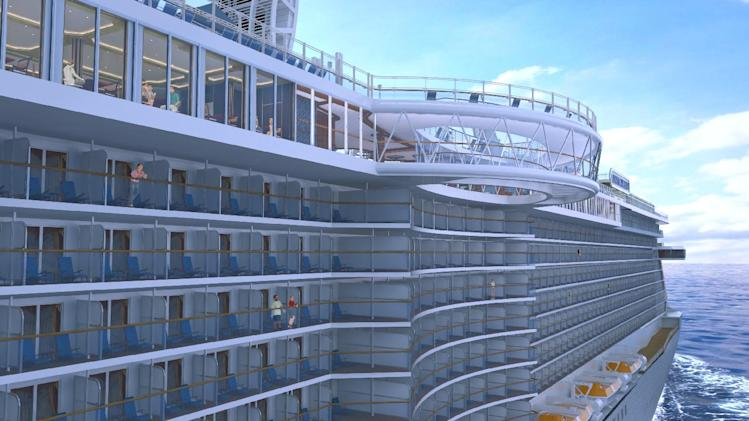 This artist's rendering shows the SeaWalk, a glass-bottom walkway being built on the Royal Princess cruise ship, which launches in June. The walkway will extend 28 feet beyond the edge of the ship and 128 feet above the ocean. The Royal Princess is considered by cruise-industry watchers to be one of the hottest new ships of 2013. The Princess Cruises vessel will carry 3,600 passengers. (AP Photo/Princess Cruises)