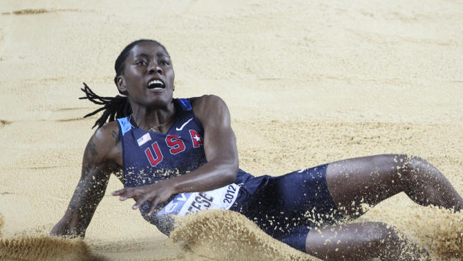 United States' Brittney Reese makes an attempt in the Women's Long Jump final during the World Indoor Athletics Championships in Istanbul, Turkey, Sunday, March 11, 2012.  (AP Photo/Michael Probst)
