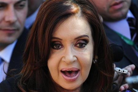 Argentina's President Cristina Fernandez De Kirchner speaks with the media as she attends the summit of the Community of Latin American, Caribbean States and European Union . REUTERS/Jorge Sanchez