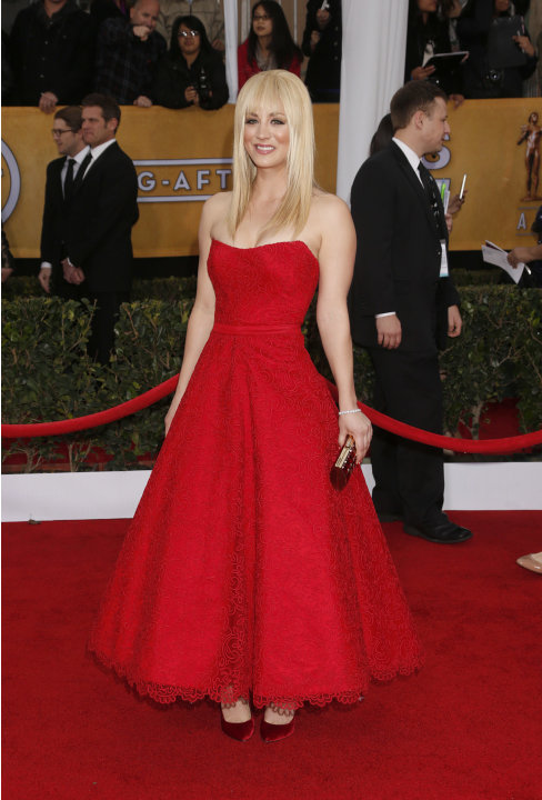 Kaley Cuoco arrives at the 19th Annual Screen Actors Guild Awards at the Shrine Auditorium in Los Angeles on Sunday Jan. 27, 2013. (Photo by Todd Williamson/Invision for The Hollywood Reporter/AP Imag