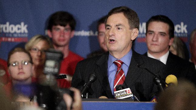 Indiana Treasurer Richard Mourdock speaks to supporters in Indianapolis, Tuesday, May 8, 2012, after he defeated incumbent Sen. Richard Lugar, R-Ind., in the primary. (AP Photo/AJ Mast)