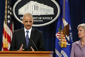 U.S. Attorney General Holder and Health and Human Services Secretary Sebelius hold a news conference to announce Medicare Fraud Strike Force law enforcement actions at the Justice Department in Washington