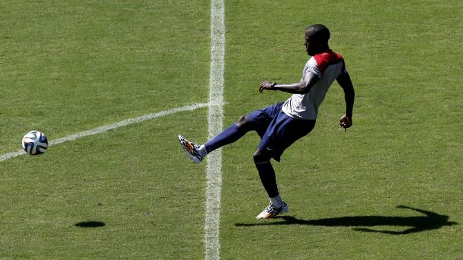 U.S. Altidore kicks the ball during a training session ahead of their 2014 World Cup round of 16 match against Belgium in Salvador