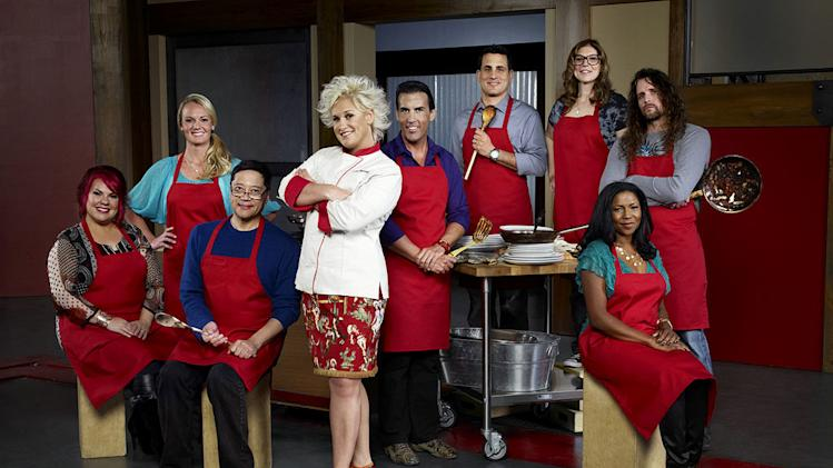 "Host Anne Burrell and Recruits, Dorothy Strouhal, Sean Bennett, Richard Chen, Melissa Rhodes, Anthony Schiano, Rachel Margolin, Kelli Powers, and Robert Tamke as seen on Season 3 of ""Worst Cooks in America."""