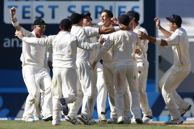New Zealand celebrate winning the first international test cricket match against India at Eden Park in Auckland