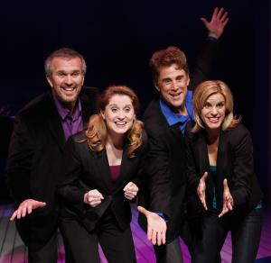 """This publicity photo released by O&M Co. shows, from left, George Dvorsky, Christiane Noll, Sal Viviano and Jen Colella in """"Closer Than Ever"""", in an off-Broadway revival by York Theatre Company at Saint Peter's in New York.  (AP photo/O&M Co., Carol Rosegg)"""
