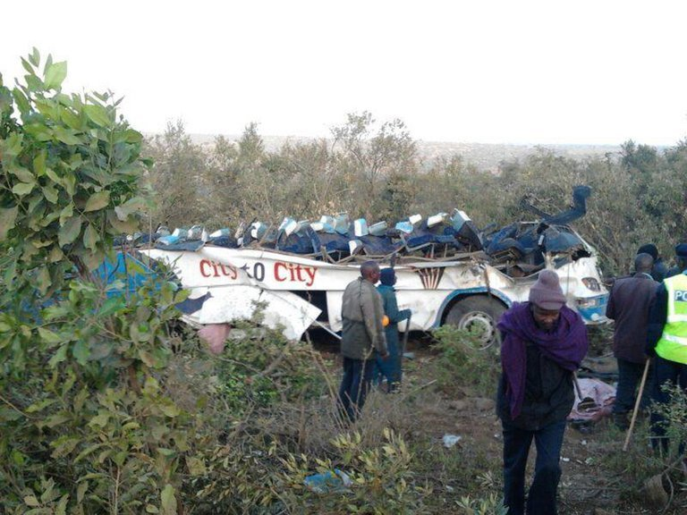 A bus that crashed near the town of Narok, west of Nairobi, on August 29, 2013, in a photo from the Red Cross
