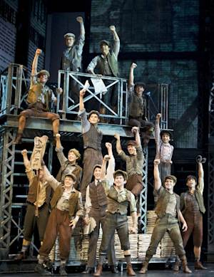 """In this theater image released by Disney Theatrical Productions, the cast is shown from the musical """"Newsies.""""  Disney Theatrical Productions said Tuesday, Nov. 15, 2011, that the show will begin a limited run at Broadway's Nederlander Theatre beginning in March. It had a critically acclaimed debut in September at the Paper Mill Playhouse in Millburn, N.J. (AP Photo/Disney Theatrical Productions, T Charles Erickson)"""