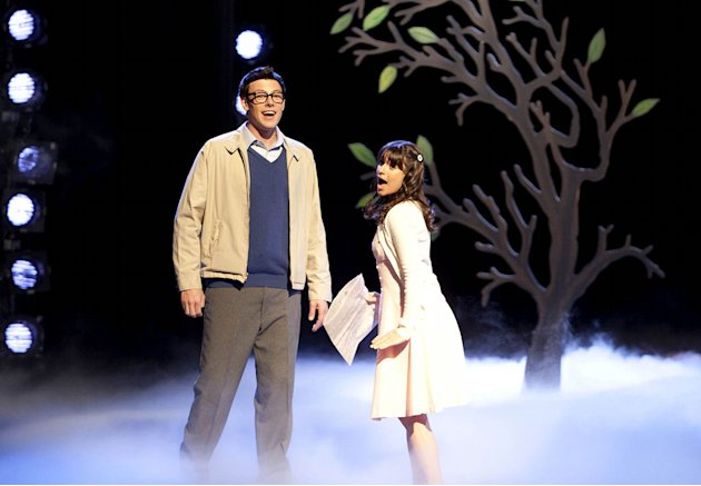 "Finn (Cory Monteith) as Brad and Rachel (Lea Michele) as Janet perform in ""The Rocky Horror Glee Show"" episode of ""Glee."""