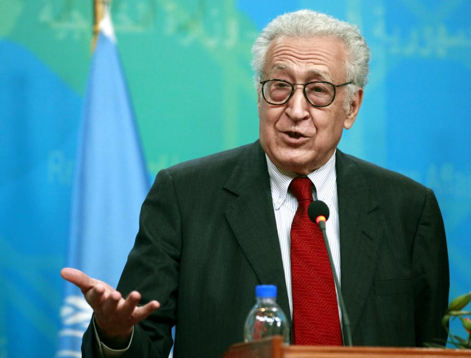 U.N. envoy on Syria, Lakhdar Brahimi speaks during a joint press conference Hoshyar Zebari, unseen, in Baghdad, Iraq, Monday, Oct. 15, 2012. (AP Photo/Hadi Mizban)