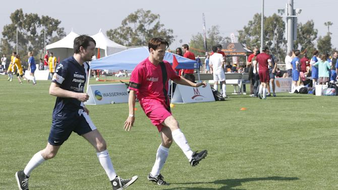 THR plays The Cutting edge Group at the LAFEST LA Film and Entertainment Soccer Tournament, on Sunday, March 24, 2013 in Carson, California. (Photo by Todd Williamson/Invision for THR/AP Images)