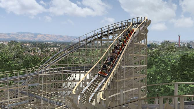 This rendering supplied by California's Great America theme park depicts Gold Striker, a roller coaster opening at the Santa Clara, Calif., park this summer. The wooden coaster will be 108 feet tall and will go more than 50 mph. It's one of a number of new attractions opening at theme parks around the country this year. (AP Photo/ Great America)