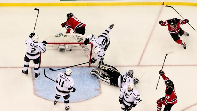 Zach Parise #9 Of The New Jersey Devils Celebrates Getty Images