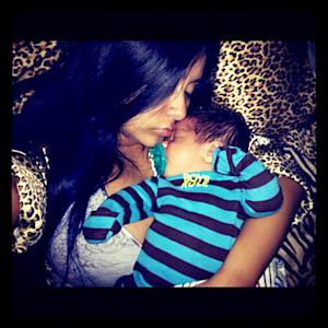 PIC: Aww! See Snooki Cuddle With Baby Lorenzo