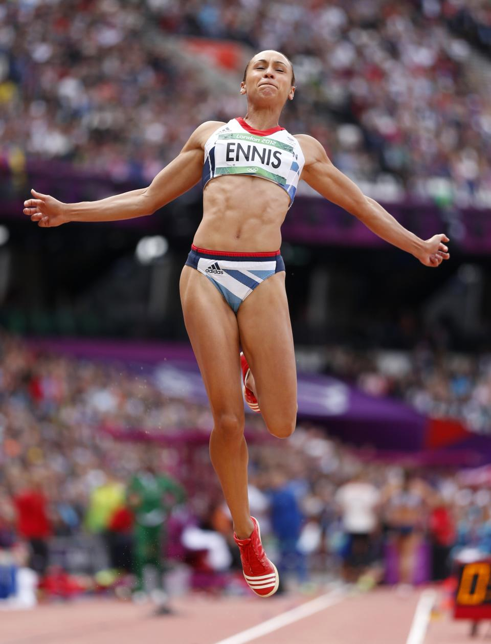 Britain's Jessica Ennis competes in the long jump heptathlon during the athletics in the Olympic Stadium at the 2012 Summer Olympics, London, Saturday, Aug. 4, 2012. (AP Photo/Matt Dunham)