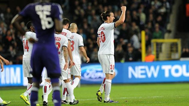 Joie Ibrahimovic Anderlecht-PSG Ligue des champions 2013/2014
