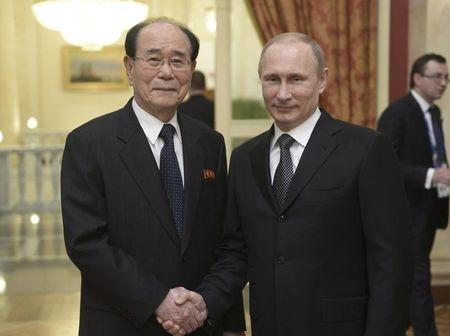 Russia's President Putin shakes hands with Kim, president of the Presidium of the North Korean Supreme People's Assembly, before a reception prior to the 2014 Winter Olympic Games opening ceremony in Sochi