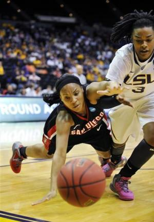 LSU gets past San Diego St 64-56 in NCAA opener