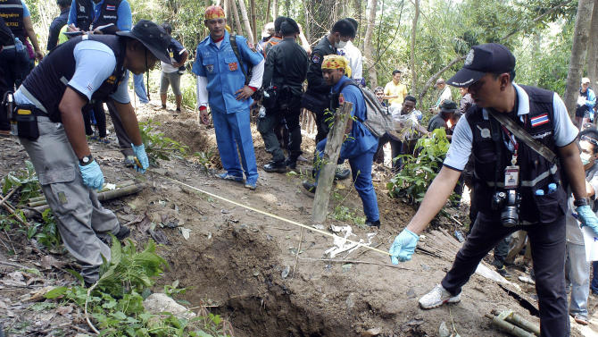 FILE - In this May 2, 2015 file photo, Thai police officials measure a shallow grave in Padang Besar, Songkhla province, southern Thailand. Malaysian authorities said Sunday, May 24 that they have discovered graves in more than a dozen abandoned camps used by human traffickers on the border with Thailand where Rohingya Muslims fleeing Myanmar have been held. The finding follows a similar discovery earlier this month by police in Thailand who unearthed at least 33 bodies from shallow graves on the Thai side of the border. The grim discoveries are shedding new light on the hidden network of jungle camps run by traffickers, who have for years held countless desperate people captive while extorting ransoms from their families. (AP Photo/Sumeth Panpetch, File)