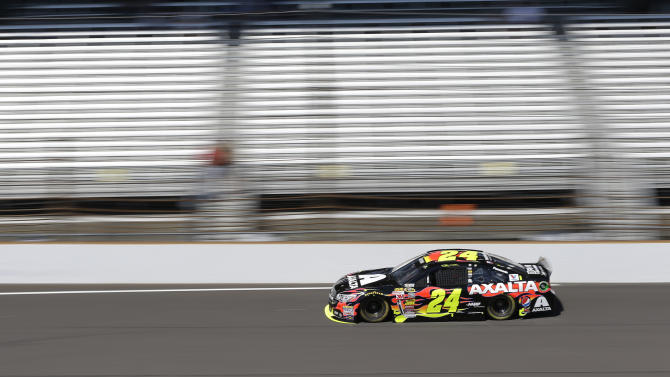 Driver Jeff Gordon practices for the Brickyard 400 Sprint Cup series auto race at the Indianapolis Motor Speedway in Indianapolis, Friday, July 25, 2014. (AP Photo/Darron Cummings)