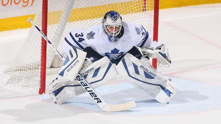 James Reimer of the Toronto Maple Leafs stands in goal against the Buffalo Sabres at First Niagara Center on November 29, 2013 in Buffalo, New York