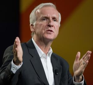 FILE - In this April 11, 2011 file photo, director James Cameron speaks at the National Association of Broadcasters convention in Las Vegas. Cameron said Thursday, March 8, 2012, he plans to take a submersible craft down 7 miles to the world's deepest point in the Mariana Trench, in the Pacific Ocean 200 miles southwest of Guam. The journey later this month reportedly would be the deepest solo dive ever, breaking Cameron's own record set this week, when he descended 5 miles off the coast of Papua New Guinea in the South Pacific. (AP Photo/Julie Jacobson, file)