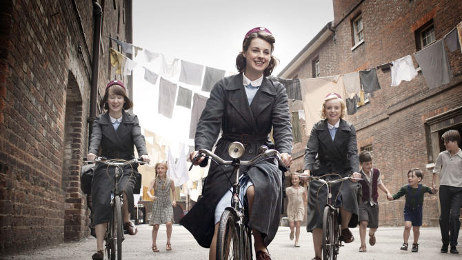 """This image provided by Neal Street Productions shows, from left, Bryony Hannah, Jessica Raine and Helen George in """"Call The Midwife,"""" a British drama about midwifery in the 1950s that opens PBS' fall schedule on Sept. 30. (AP Photo/Neal Street Productions, Laurence Cendrowicz) MANDATORY CREDIT"""