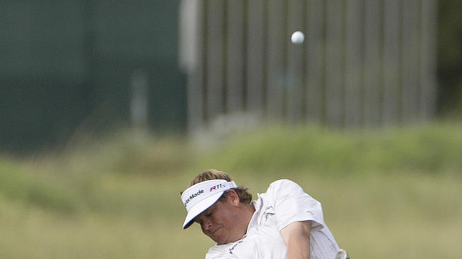 Tim Herron hits off the first fairway during the second round of the Justin Timberlake Shriners Hospitals for Children Open PGA golf tournament, Friday, Oct. 5, 2012, in Las Vegas. (AP Photo/Julie Jacobson)
