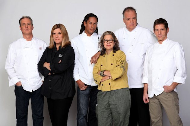 "Chefs Jimmy Bradley, Anna Sortun, Govind Armstrong, Susan Feniger, Tony Mantuano, and Jerry Traunfeld compete in the second season of ""Top Chef: Masters."""