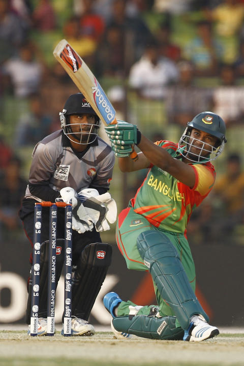 Bangladeshi cricketer Shakib Al Hasan plays a shot during a warm-up cricket match against United Arab Emirates ahead of the Twenty20 World Cup Cricket in Fatullah, near Dhaka, Bangladesh, Wednesday, M