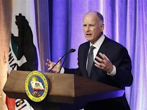 California Governor Jerry Brown speaks at the 7th Annual California Hall of Fame induction ceremony at The California Museum in Sacramento