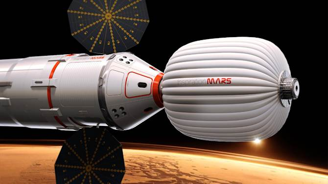 "A drawing provided by Inspiration Mars shows an artist's conception of a spacecraft envisioned by the private group, which wants to send a married couple on a mission to fly by the red planet and zip back home, beginning in 2018. The nonprofit ""Inspiration Mars"" will get initial money from multimillionaire Dennis Tito, the first space tourist. Outsiders put the price tag at more than $1 billion. The mission, announced Wednesday, Feb. 27, 2013, would last more than 16 months. (AP Photo/Inspiration Mars)"