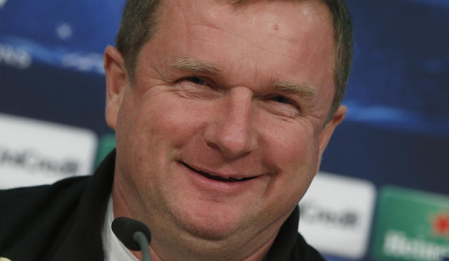 Plzen head coach Pavel Vrba laughs during a news conference prior to the Champions League group D soccer match between FC Bayern Munich and Viktoria Plzen, in Munich, southern Germany, Tuesday, Oct. 2