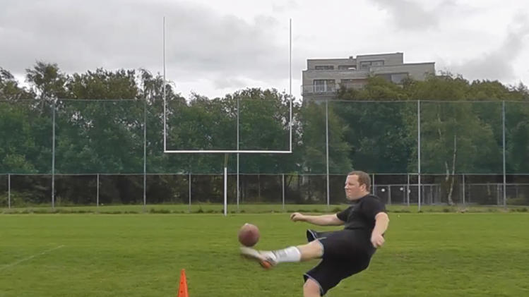 In this undated  image from Internet video, Havard Rugland, who has become a YouTube sensation after posting a video of himself kicking American footballs, kicks a ball in a series of trick shots. The young Norwegian has been given a tryout with the New York Jets of the NFL. (AP Photo)
