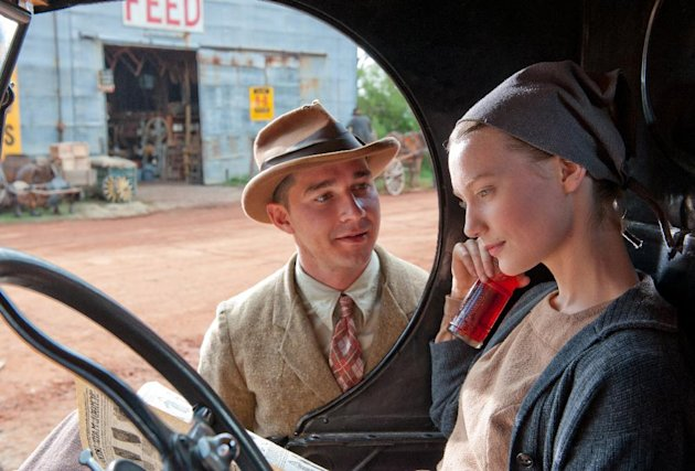 "This film image released by The Weinstein Company shows Shia LaBeouf, left, and Mia Wasikowska in a scene from ""Lawless."" (AP Photo/The Weinstein Company, Richard Foreman, Jr.)"