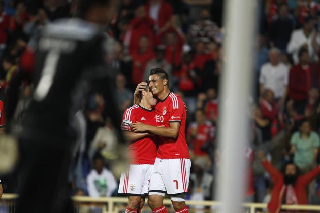 Benfica's Cardozo celebrates goal with Gaitan during Portuguese Premier League soccer match against Estoril in Estoril