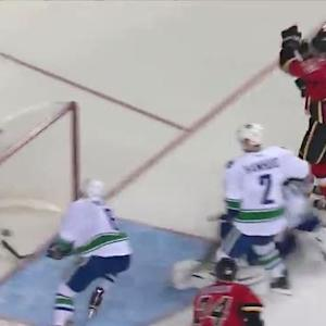 Monahan slips in a rebound on his backhand