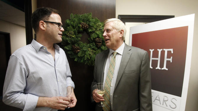 (l-r) AHF Senior Regional Director, Alan Ouderkirk and Associate Director of Business Development, Christopher Robson at the Grand Opening of the new AHF Healthcare Center in Dallas, Tex. Monday, December 3, 2012 in Fort Worth, Texas. (Richard W. Rodriguez /AP Images for AIDS Healthcare Foundation)