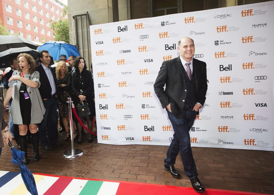 "Director Matthew Weiner poses for a photograph on the red carpet at the gala for the new movie ""You Are Here"" during the 2013 Toronto International Film Festival in Toronto on Saturday, Sept. 7, 2013. (AP Photo/The Canadian Press, Michelle Siu)"